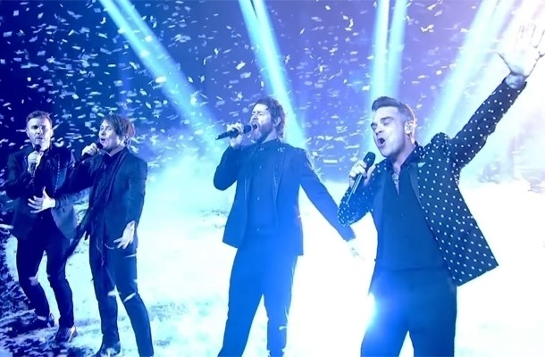Robbie Williams even terug bij Take That